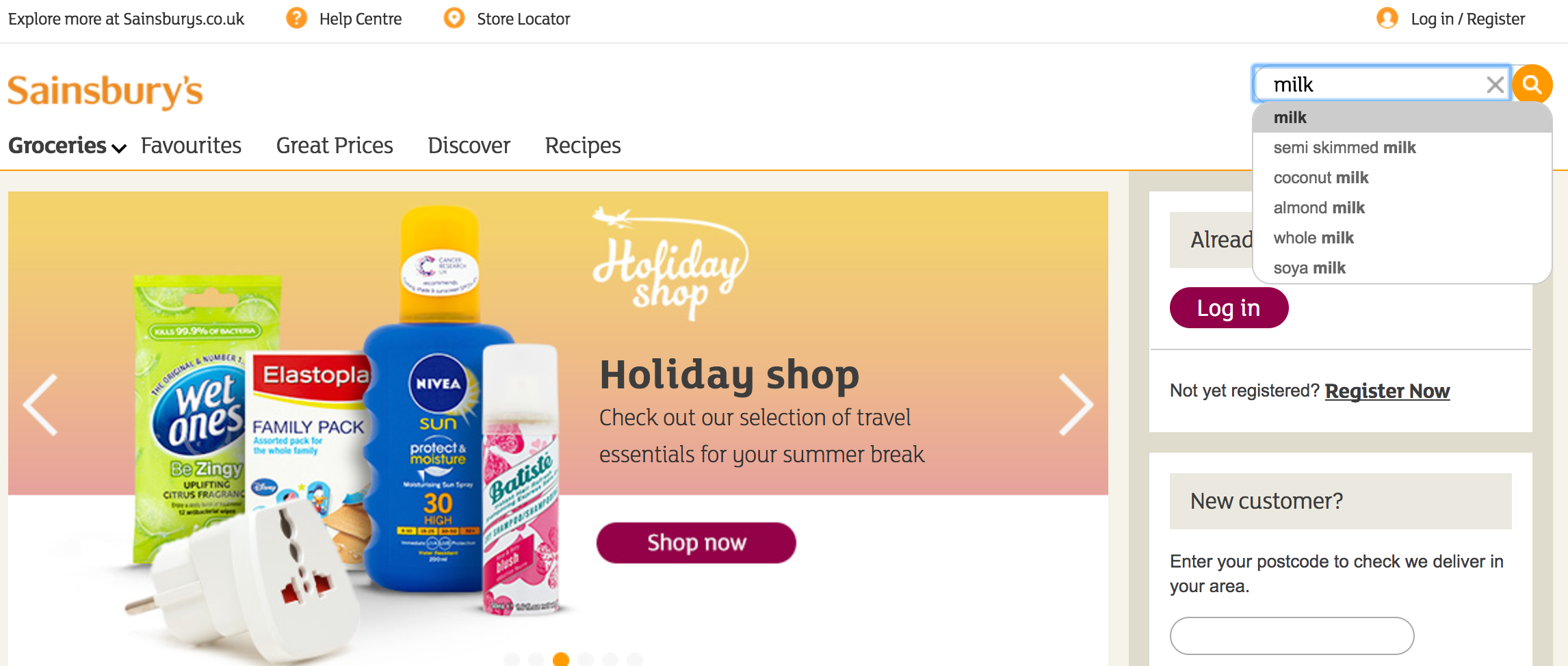 A screenshot of Sainsbury's website, which provides an example of efficient product search.