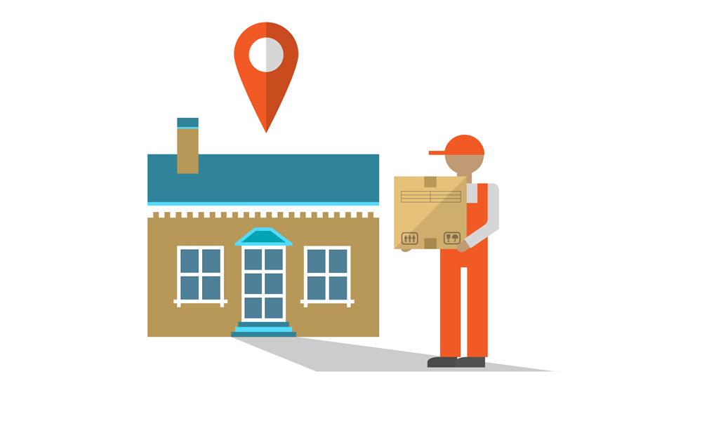 An illustration of a deliveryman bringing a package to a home.